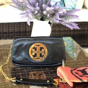 Tory Burch Amanda Chrome gold crossbody clutch